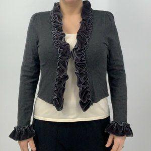 Inc. Gray Cropped Ruffled Cardigan